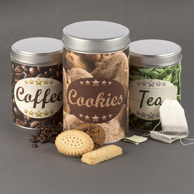 Contenitori di latta personalizzati con foto o grafiche for Porta zucchero caffe sale