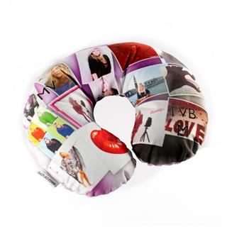 personalised travel pillow printed with stylish photo collage design