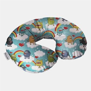 travel neck pillows for children printed with cartoon rainbow and cloud design