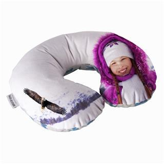 travel pillow personalised with winter holiday photo