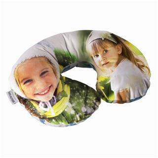custom neck pillow with sweet family photograph of two sisters