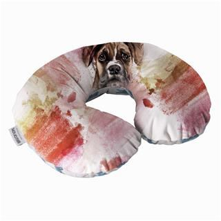 neck pillow custom printed with pet portrait and water colours