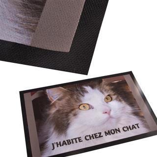 tapis d'entrée imprimé photo chat