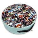 round floor cushions with large photo montage printed on the seat