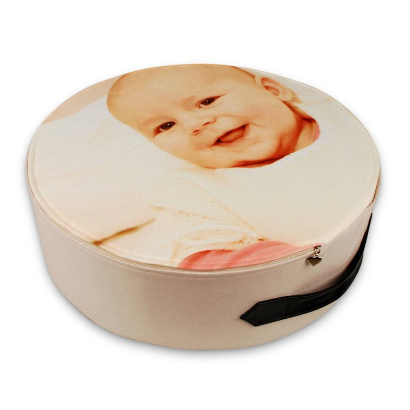round floor cushion printed with baby picture