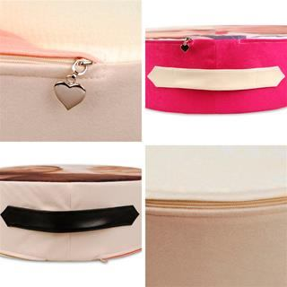 leather handle and heart zipper pendant details of round floor cushions