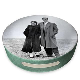 round cushion for the floor with old nostalgic photograph print