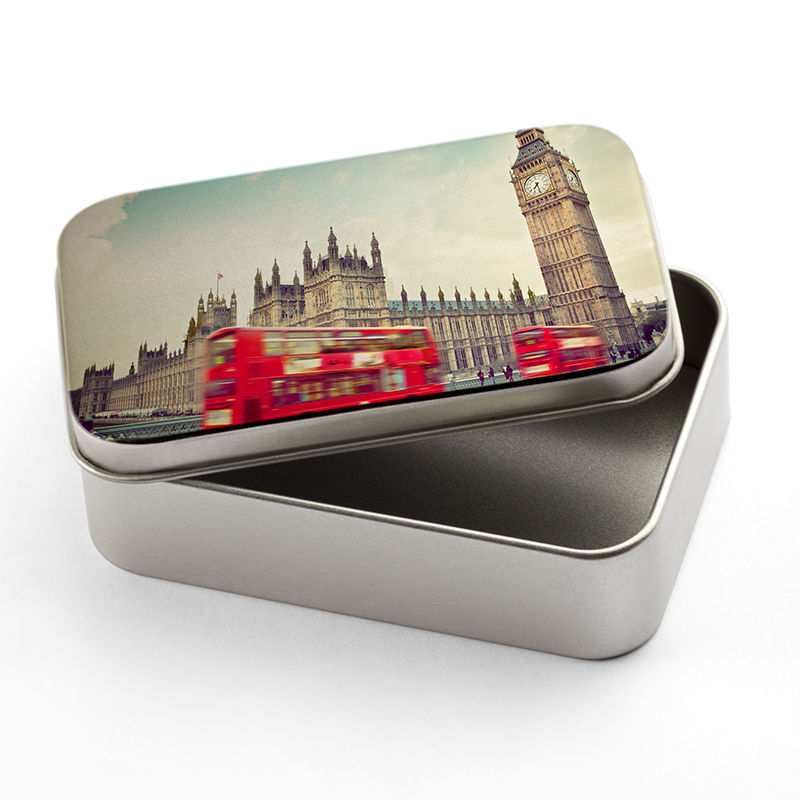 custom printed tins personalized photo tins silver