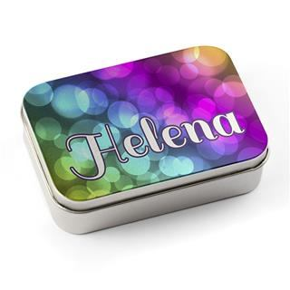 colourful personalised tins with name