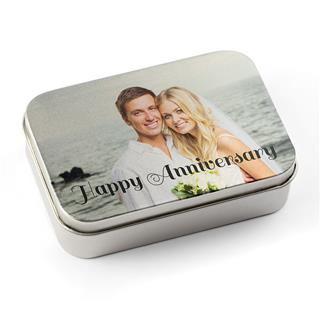 custom photo printed on silver tin