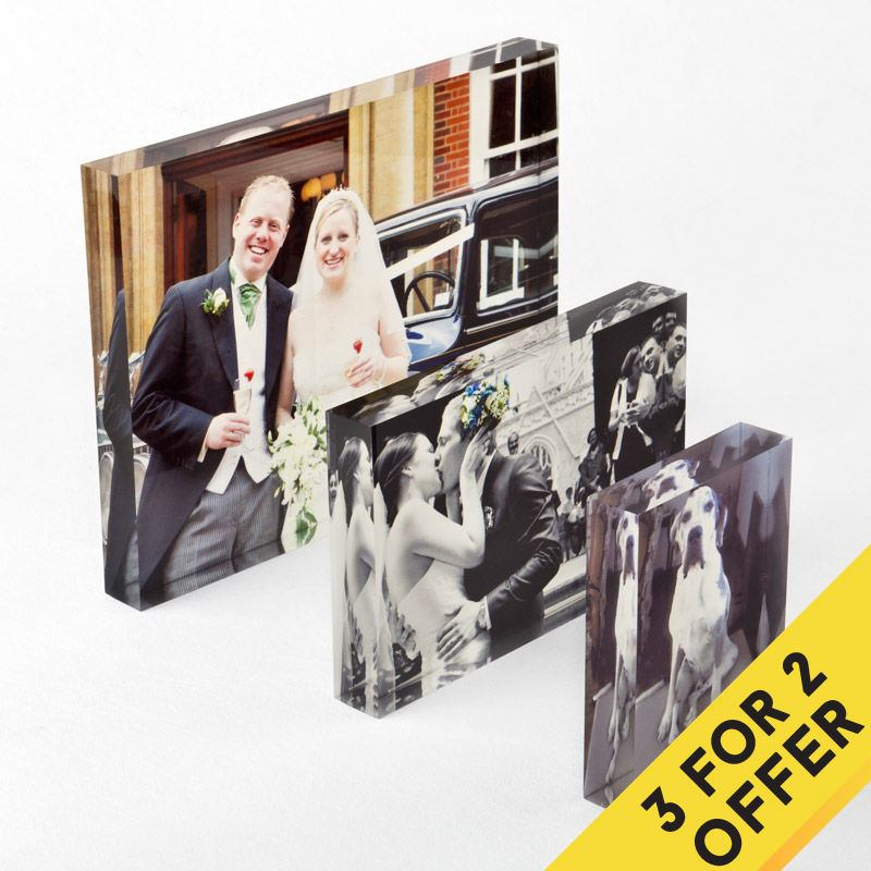 buy two get one free acrylic photo block