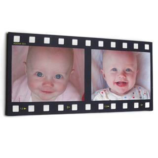 Foto montaje estilo pelicula con fotos de bebe