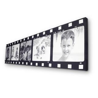 Foto montaje estilo pelicula con fotos de niño