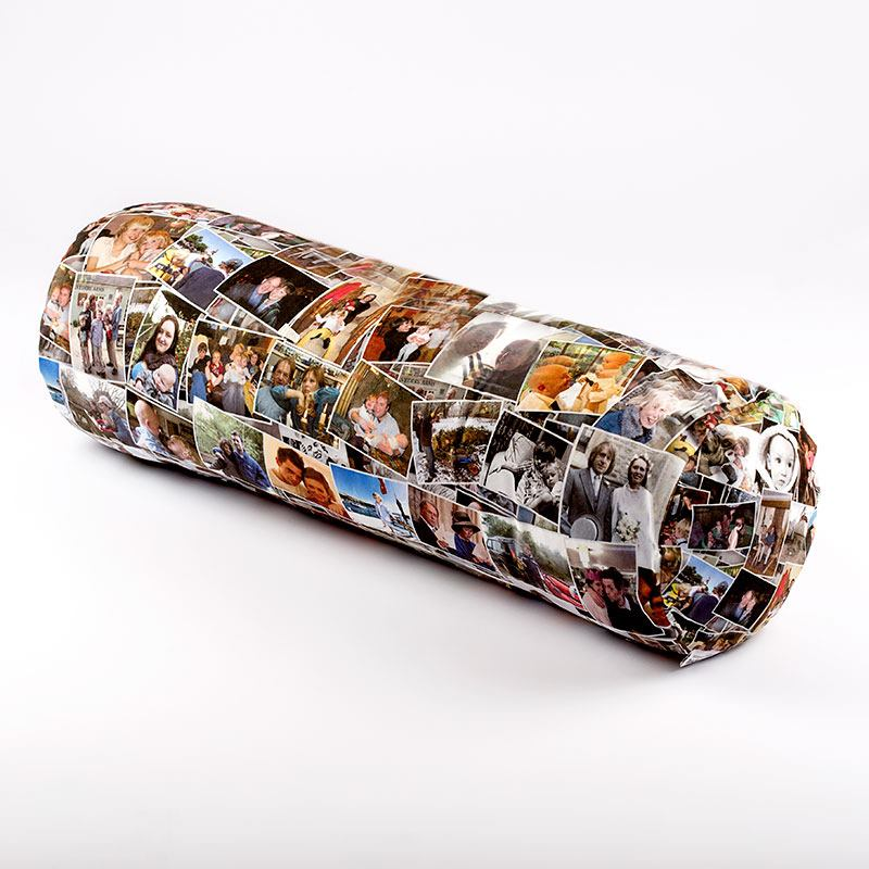 design a photo montage sausage cushion to reminisce over memories