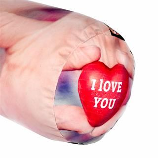 customised end of the large bolster pillow with love heart and special message