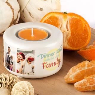 Orange scented photo candle holder