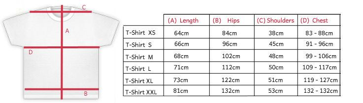 uk personalised tshirts dimensions