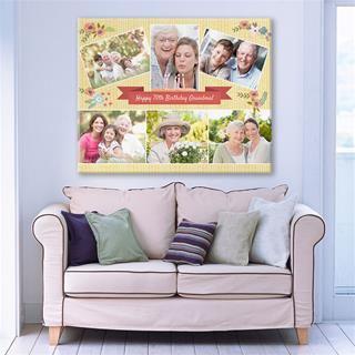Personalisierte fotocollage auf leinwand mit Familie