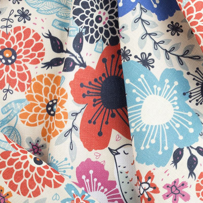 Custom Printed Cotton Linen Fabric Natural Textile Printing