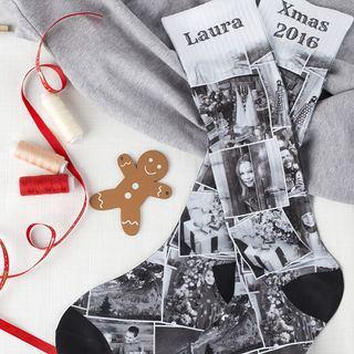 Chaussette avec photos en noir et blanc
