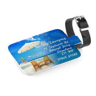 Etichette bagaglio con foto in pelle