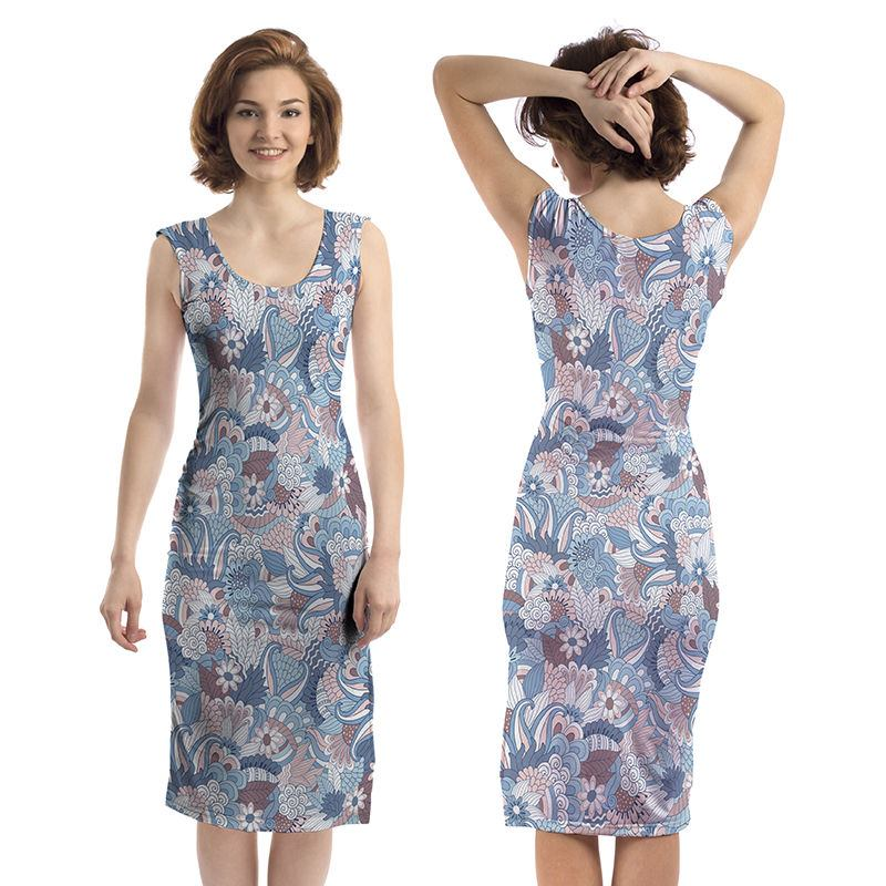 Printed Bodycon dress front and back