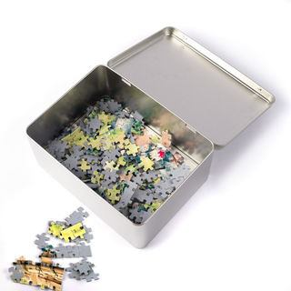 custom puzzle tin with hinged lid