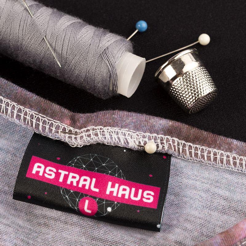étiquette textile pliée