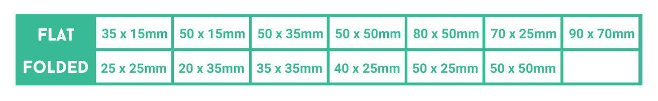 Fabric-Label Size Table