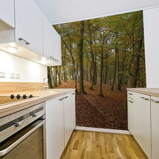 Personalised wallpaper forest kitchen