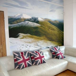 Photo printed fabric wallpaper lounge mountain landscape