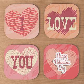 I love you photo coasters wooded print