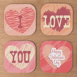 personalised wooden coasters valentines