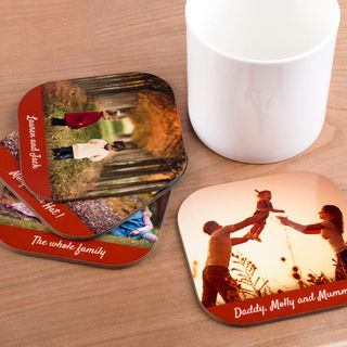 family photo coasters with different photos