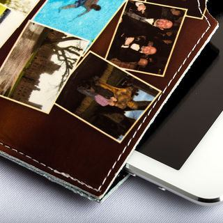 photo iPad case with leather stitching detail