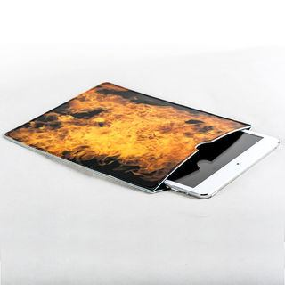 leather iPad case personalised with fire image