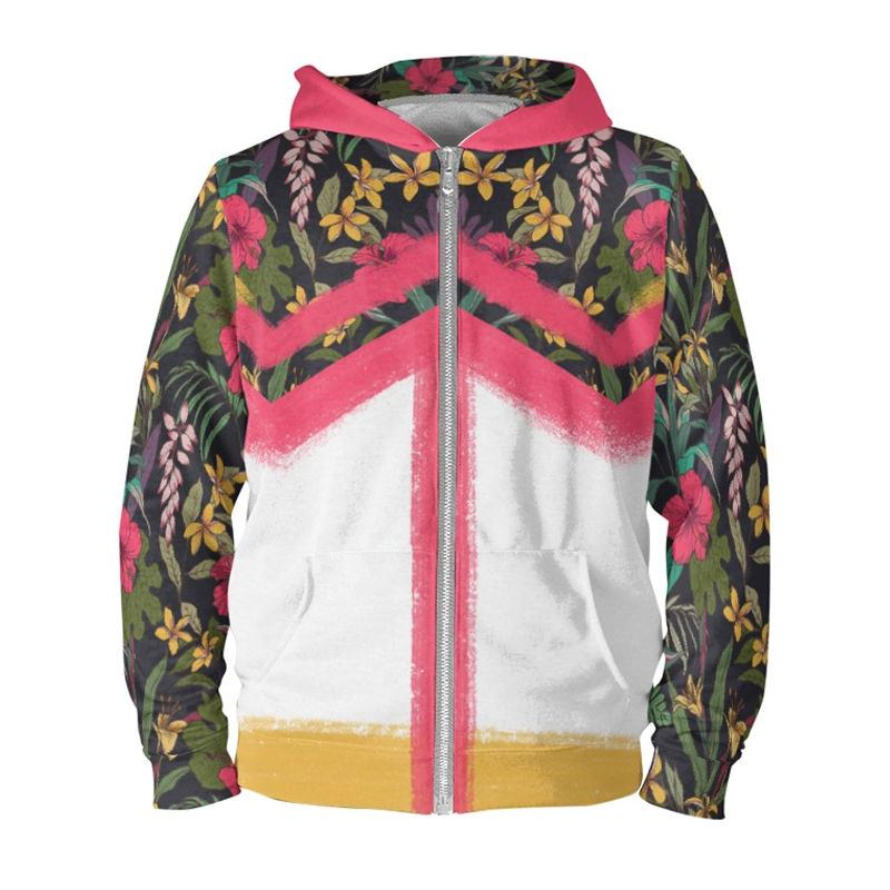 Jungle pattern hoodie pink trim