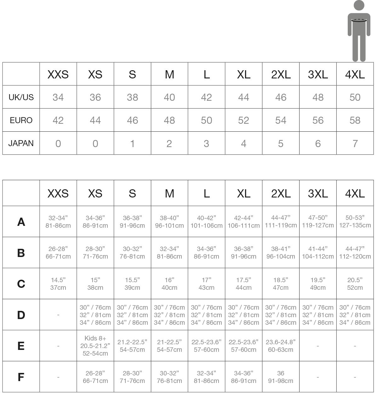 tabella taglie abbigliamento personalizzato