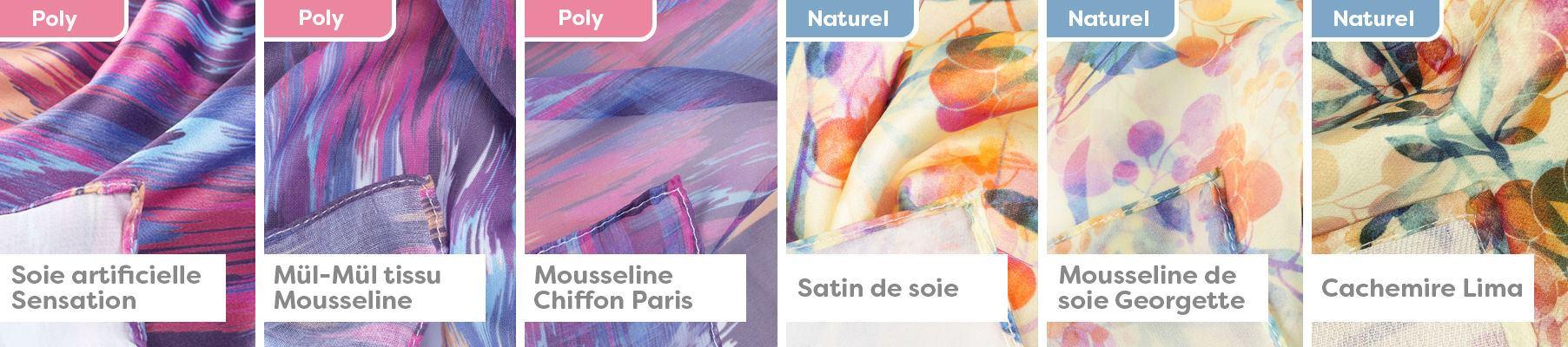 Type de Tissus Foulards Soie Bannière