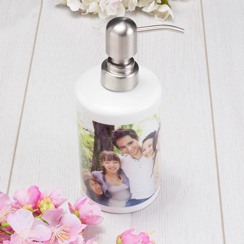 personalised soap dispenser soap pump with photo bags of love. Black Bedroom Furniture Sets. Home Design Ideas