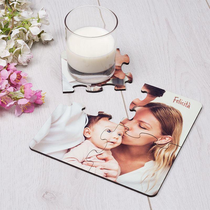 sottobicchieri puzzle con foto famiglia
