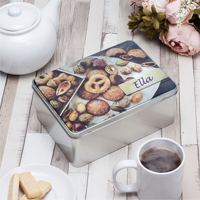 metal cookie tin personalized with name