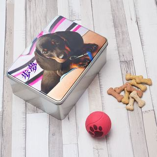 Dog biscuit treats tin