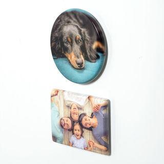 Runder Magnet mit Foto für den Kühlschrank - Rückansicht