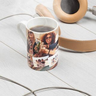 tall china mug with photo collage