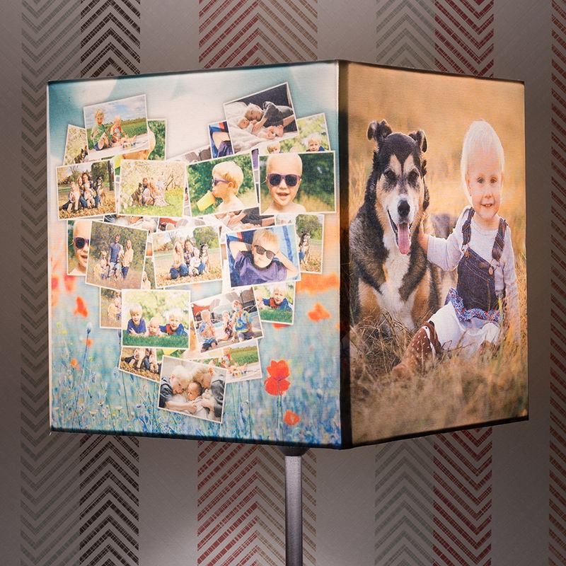 Create your own photo lampshade square lamp shades for Decorate your own lampshade