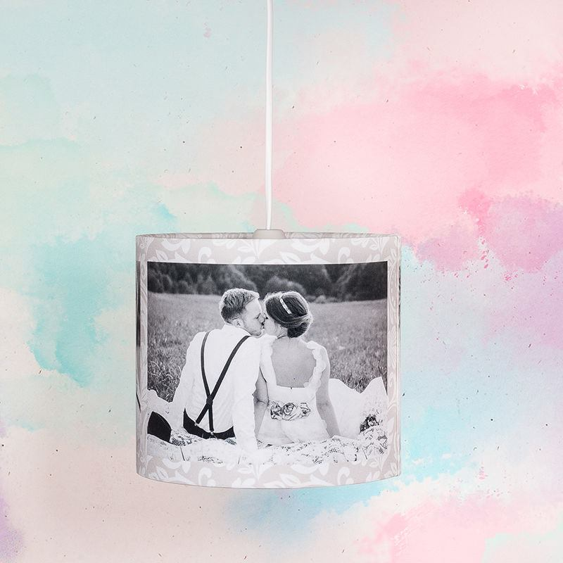 Custom lamp shades custom shades custom printed black and white round lamp shade montage custom mozeypictures Choice Image