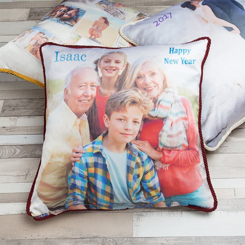 Personalised Silk cushions with family photo and red rope braid trim