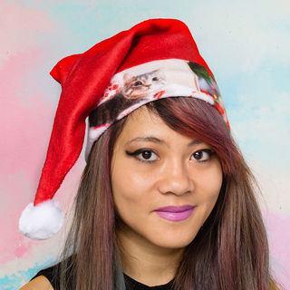 Photo de chat sur bonnet Noël personnalisé