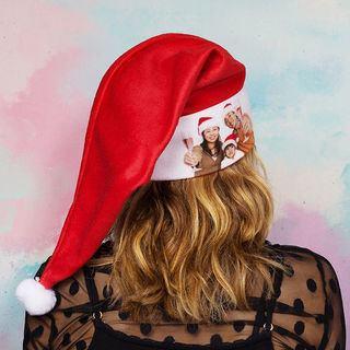 Photo de famille sur bonnet de Noël